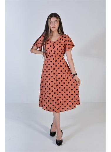 Zeren Kadın Pudra Siyah Puantiyeli V Yaka Elbise Pudra